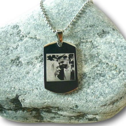 Personalised Photo Engraved Dogtag Necklace for Man or Boy,  Any Words Engraved on the Back.